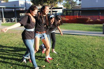"BioScience students participate in the ""five-legged race"" at the BioScience Olympics. Credit:"