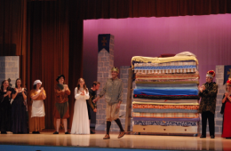 "Actors in the VHS play ""Once Upon a Mattress"" take their bows onstage. Credit: Kazu Koba/The Foothill Dragon Press"