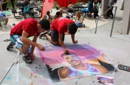 """(From Left to Right) Seniors Michael Morales and Diego created a portrait of """"Chance the Rapper"""" along with the rest of their group. Credit: Maddy Schmitt/The Foothill Dragon Press"""