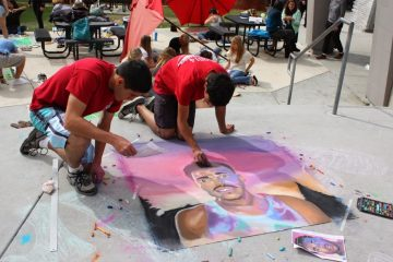 "(From Left to Right) Seniors Michael Morales and Diego created a portrait of ""Chance the Rapper"" along with the rest of their group. Credit: Maddy Schmitt/The Foothill Dragon Press"