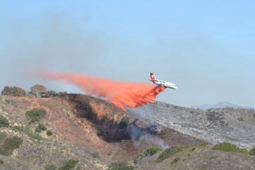 "Multiple aerial firefighters combat the ""Foothill Fire"" with fire retardant, September 29, 2014. Credit: Kazu Koba/The Foothill Dragon Press"