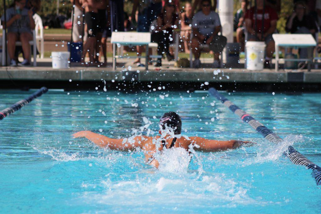 A swimmer racing towards the finish line. Credit: Kazu Koba/The Foothill Dragon press