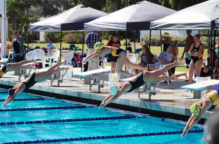 The Foothill swim team triumphed against Santa Clara High School at their first swim meet. Credit: Kazu Koba/The Foothill Dragon Press