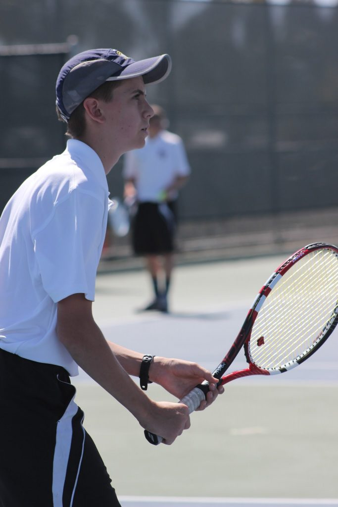 Freshman Peter Jespersen focuses on the match. In Thursday's game, every point counted. Credit: Rachel Horiuchi/The Foothill Dragon Press
