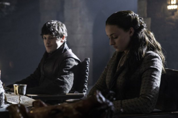 "Iwan Rheon as Ramsay Bolton and Sophie Turner as Sansa Stark in ""Game of Thrones."" The show airs Sundays at 9 P.M. Photo Credit: Helen Sloan/HBO"