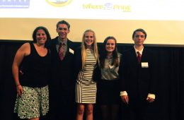 """(From left to right) BioScience director Darcy Duffy, sophomore Torin Hill,  sophomore Alyssa Elliott, sophomore Carrie Coonan and sophomore Torin Hill all were excited about the group's success with """"BPA Away."""" Credit: Leslie Somma  (Used with permission)"""