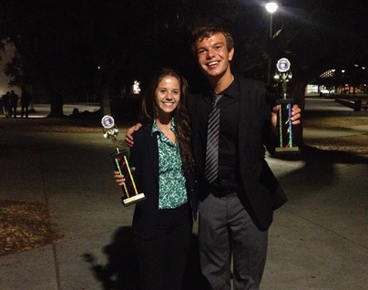 Seniors Karina Cole and Spencer Malone won first place in novice parliamentary debate. Photo courtesy of Jennifer Kindred.