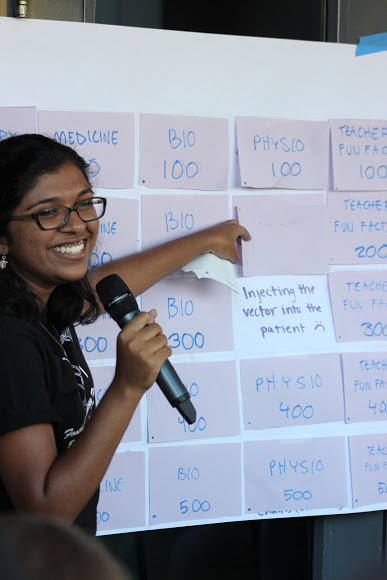 Senior Ashley Amaladhas of Cohort 10 hosts the medical-themed game of Jeopardy. Credit: Rachel Horiuchi/The Foothill Dragon Press