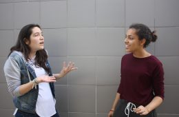 Junior drama student, Rhiannon Tircuit, and senior drama student, Charlie Klucker, acting in an improvisation. Credit: Gabrialla Cockerell/ The Foothill Dragon Press