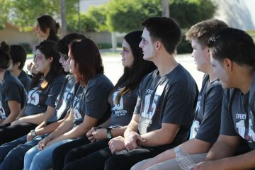 Senior Austin Shaw (third from the right) hopes that the simulation teaches students that anyone can be the victim of a driving while impaired accident. Credit: Rachel Horiuchi/The Foothill Dragon Press