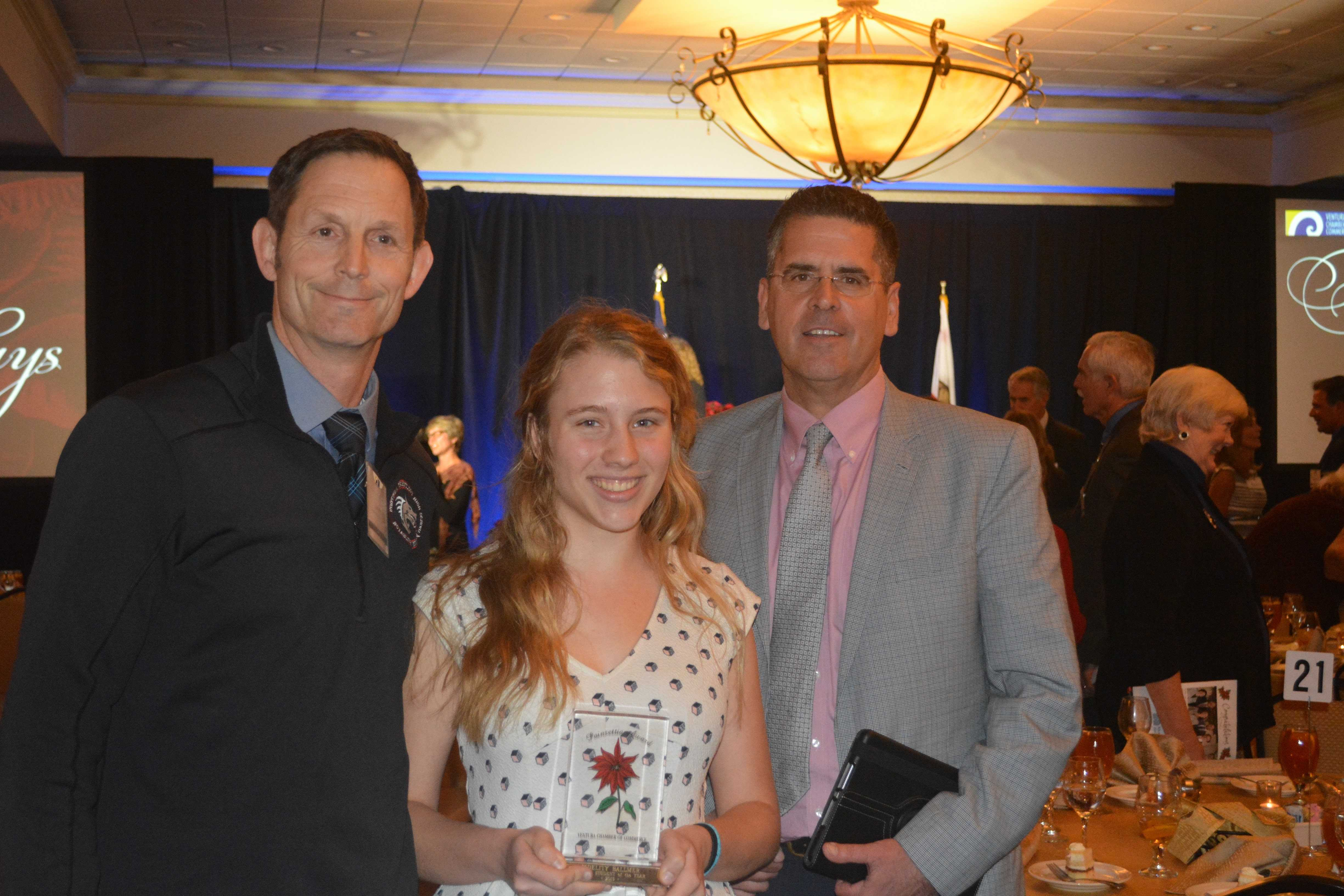 Foothill Technology High School Principal Joe Bova and Ventura Unified School District Superintendent Dr. Michael Babb pose with Female Student of the Year Award winner Fidelity Ballmer. Credit: Bella Bobrow/The Foothill Dragon Press.