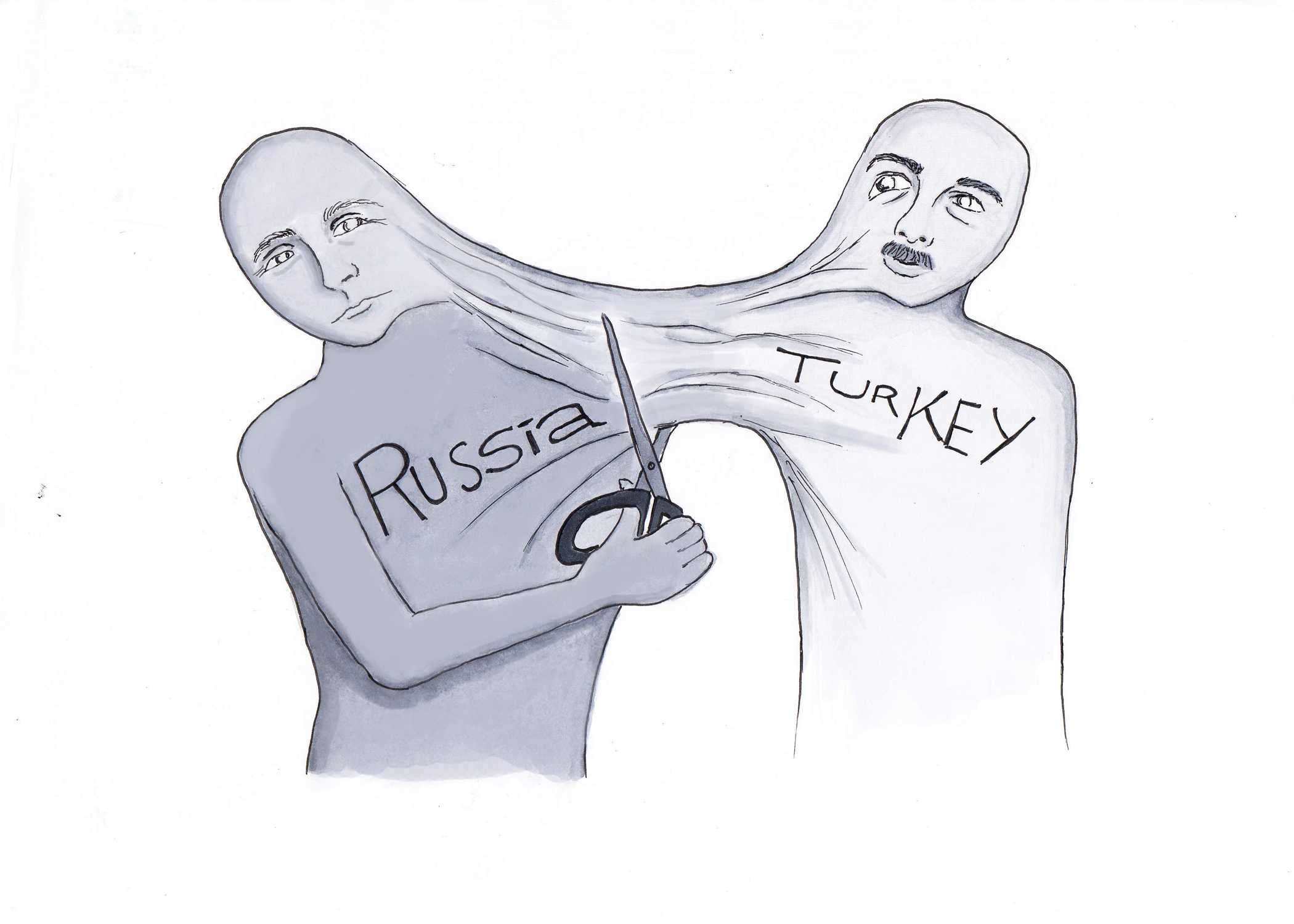Political cartoonist Jenny Chang thinks that Moscow's sanctions will hurt both Turkey and Russia. Credit: Jenny Chang/The Foothill Dragon Press