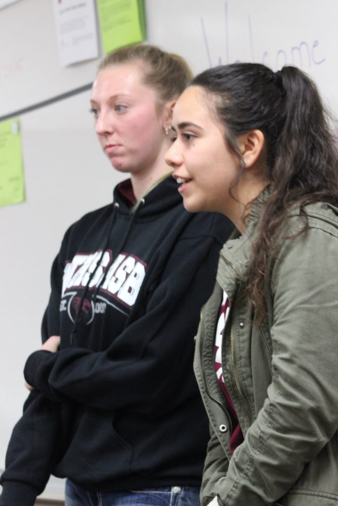 Foothill students, including senior Rachel Howery and sophomore Rebecca Camarillo gave tours to 8th graders interested in Foothill on Thursday's information night.