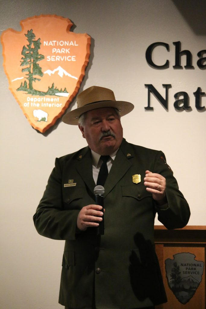 Superintendent of the Channel Islands National Park Russell Galipeau holds a Q&A with the press and guests. Credit: Grace Carey/The Foothill Dragon Press