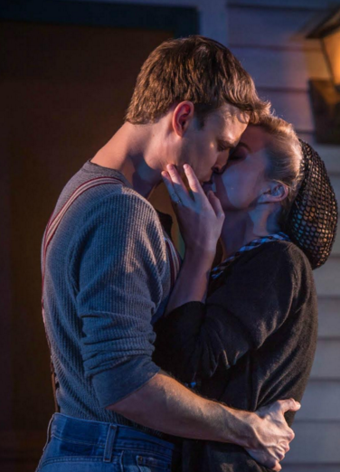 Erik Odom (left) and Lily Nicksay (right) kiss several times throughout the course of the play. Credit: Zachary Andrews (Used with Permission)
