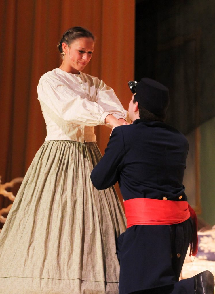 Sophomore Amanda Malotte's character Meg March falls in love with a poor man in Ventura High's performance of Little Women. Credit: Sarah Kagan/The Foothill Dragon Press