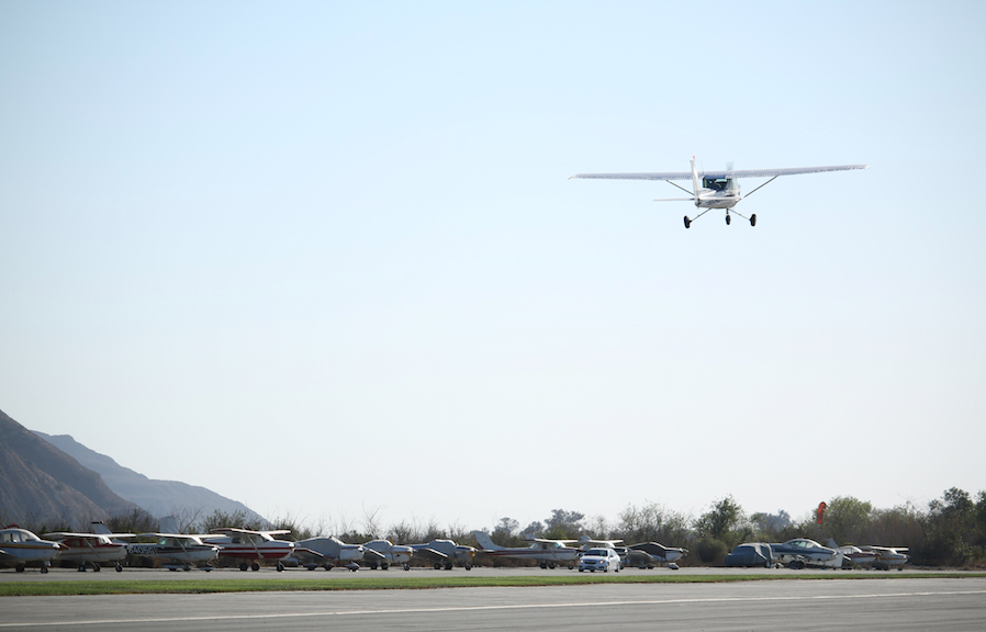 Lucas Reed on his first flight with nobody else in the airplane. Photo Credit: Grace Carey / The Foothill Dragon Press.