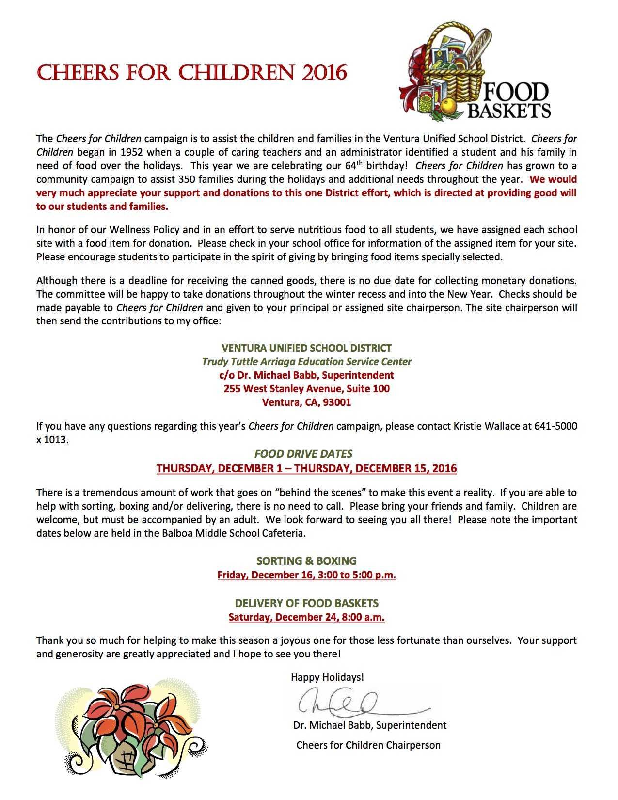 Ventura Unified's official flyer for this year's Cheers for Children food drive.
