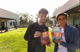 Nick Gozinez '18 (left) and Andrew Shoup '18 pose with memes they like. Credit: Grayson McCoy / The Foothill Dragon Press