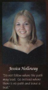 Jessica Lunetta's senior portrait in the yearbook.