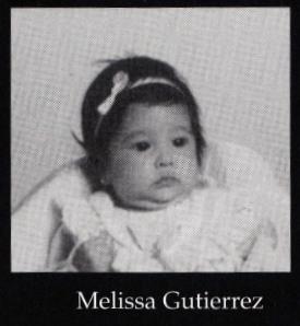 Melissa Gutierrez' baby photo in the yearbook.