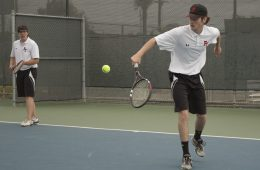 Jaden Carlson '20 and Kyle Spasiano '17 during a doubles match. Credit: Grace Carey / The Foothill Dragon Press