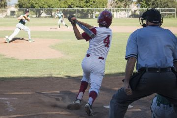 Dylan Tamburri '17 at bat. Credit: Grace Carey / The Foothill Dragon Press