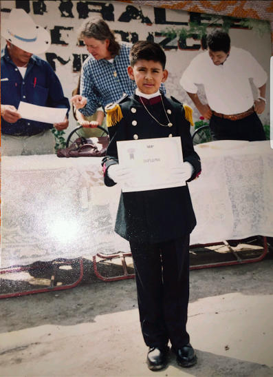 Sanchez as a cadet in his marching band in Mexico. Credit: Used with permission from Adrian Sanchez