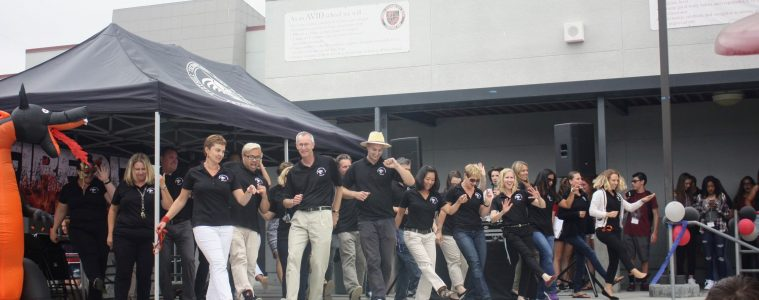 Teachers dance a flash mob on the first day of school. Credit: Gabrialla Cockerell / The Foothill Dragon Press