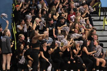 The spirit section sheers on girls' volleyball in their match against St. Bonaventure. Credit: Jason Messner / The Foothill Dragon Press