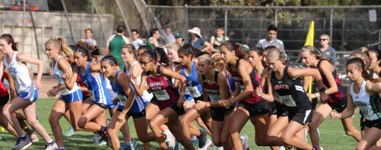 The girls' varsity race begins. Credit: Olivia Sanford / The Foothill Dragon Press