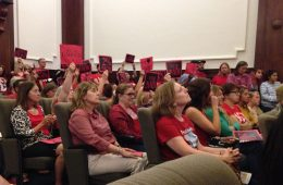 Many teachers gathered at the School Board meeting to voice their grievances over their pay. Credit: Emily van Deinse / The Foothill Dragon Press
