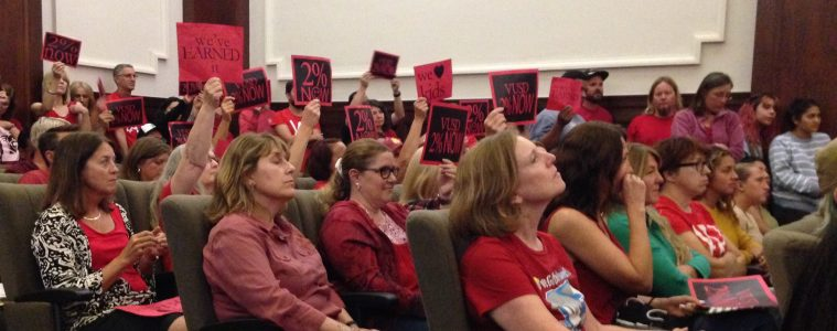 Many teachers gathered at the School Board on Oct. 10, 2017 to voice their concerns over the negotiations. Credit: Emily van Deinse / The Foothill Dragon Press