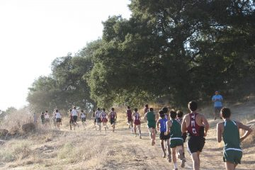 Runners claim their place in the lineup. Credit: Abby Sourwine / The Foothill Dragon Press