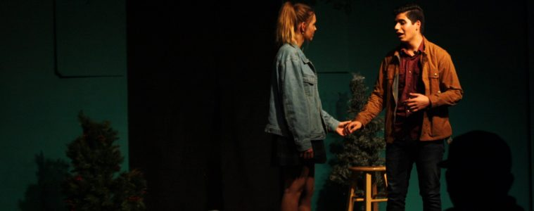 Vineta Sonders '18 and Zander Valiente '19 play Hermia and Lysander, lovers who meet in the wood in their plans to elope. Credit: Gabrialla Cockerell / The Foothill Dragon Press