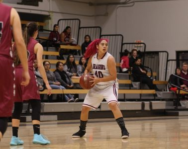Cydnie Gutierrez '19 looks to pass to an open teammate. Credit: Jason Messner / The Foothill Dragon Press