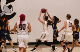 Cydnie Gutierrez '19 jogs down the court as Abby Sourwine '19 puts up a shot. Credit: Jason Messner / The Foothill Dragon Press