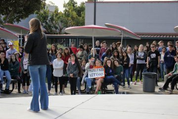 Chloe Hilles '18 advocates for voter participation during school walk out on March 14, 2018. Credit: Gabrialla Cockerell / The Foothill Dragon Press