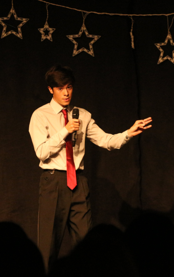 Daniel Guzman '18 performs his impressions of President Donald Trump and science teacher John Weldele. Credit: Jason Messner / The Foothill Dragon Press
