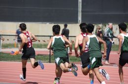 Runners from St. Bonaventure trail behind the Foothill boys. Credit: Gabrialla Cockerell / The Foothill Dragon Press