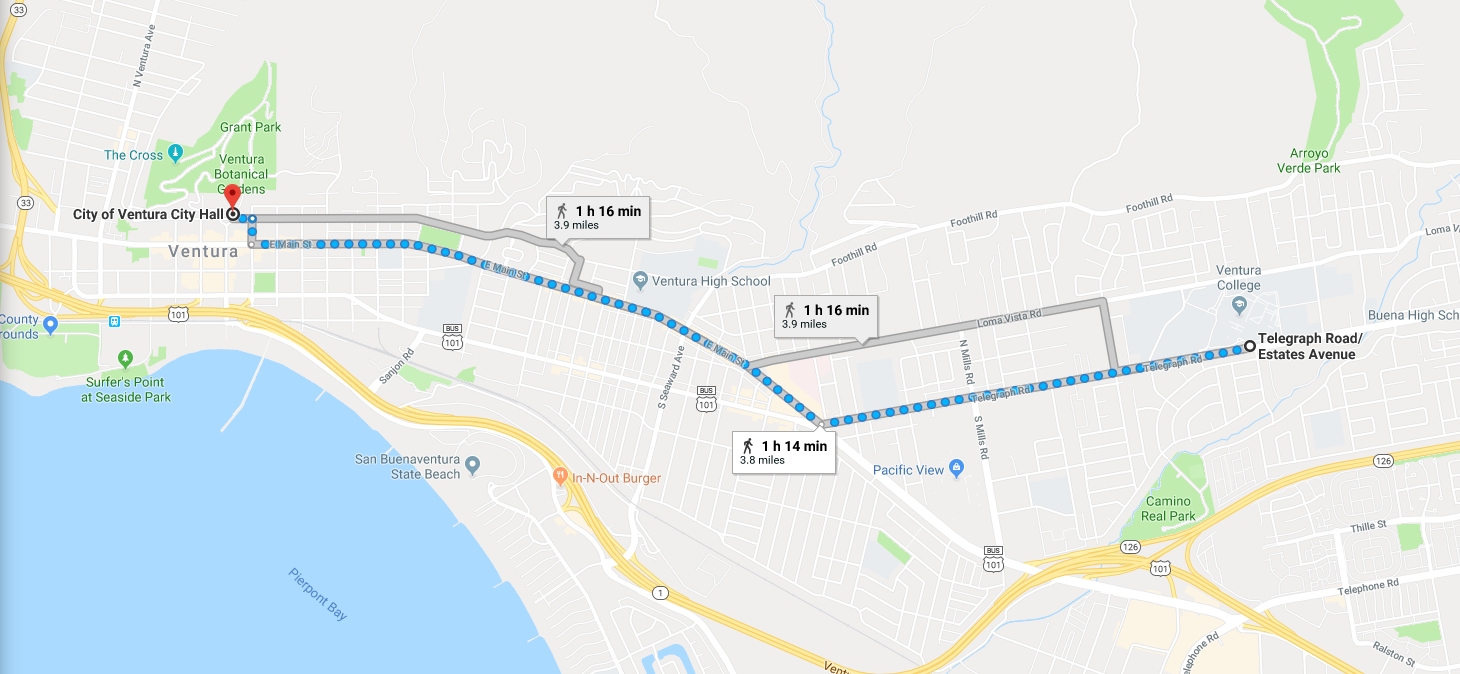 The 3.8 mile route that the student marchers took from Ventura College to City Hall is highlighted in blue. Credit: Jocelyn Brossia / The Foothill Dragon press
