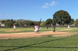 The Dragons warm up for defense before an inning. Credit: Nick Zoll / The Foothill Dragon Press