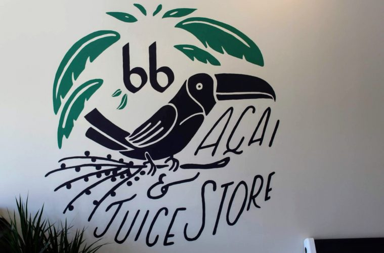 A tropical logo welcomes you into the shop. Credit: Abby Sourwine / The Foothill Dragon Press