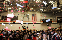 Confetti falls on the graduates to conclude the graduation ceremony. Credit: Olivia Sanford / The Foothill Dragon Press