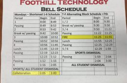 Foothill's new bell schedule for the 2018-19 school year. Credit: Yiu Hung Li / The Foothill Dragon Press