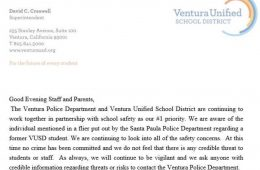 Statement released by Superintendent David Creswell of Ventura Unified. Credit: Ventura Unified Facebook