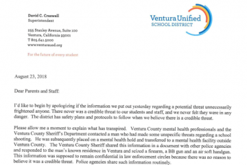 Superintendent David Creswell's follow-up message to families in the district. Credit: Ventura Unified Facebook