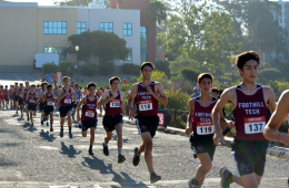 The Foothill boys warm up before the start of the three mile race. Credit: Jill Kinnaman (used with permission)