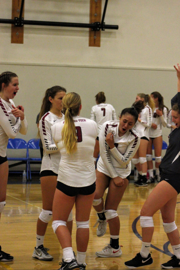 The girls celebrate after scoring a point against. Credit: Ethan Crouch / The Foothill Dragon Press