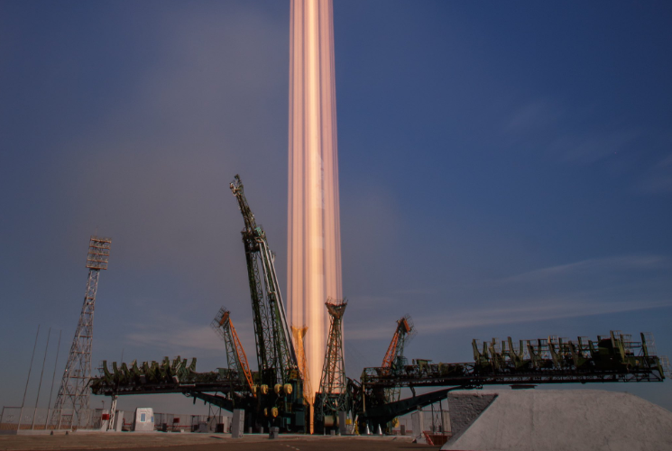 Long exposure of Soyuz MS-10 launch. Credit: Bill Ingalls / NASA